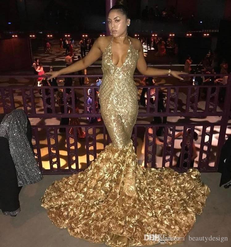 4ff29aaff7 2018 Gold Sexy Halter V Neck Mermaid Prom Dresses With Rose Train Black  Girls Evening Gowns African Vestidos Party Dresses BA8147 Online Evening  Dresses ...