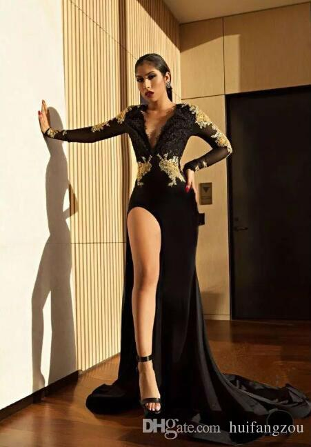 Sexy Black Prom Dresses Deep V Neck Lace Applique Long Sleeve Side Split Evening Gowns Backless Beaded Evening Dress