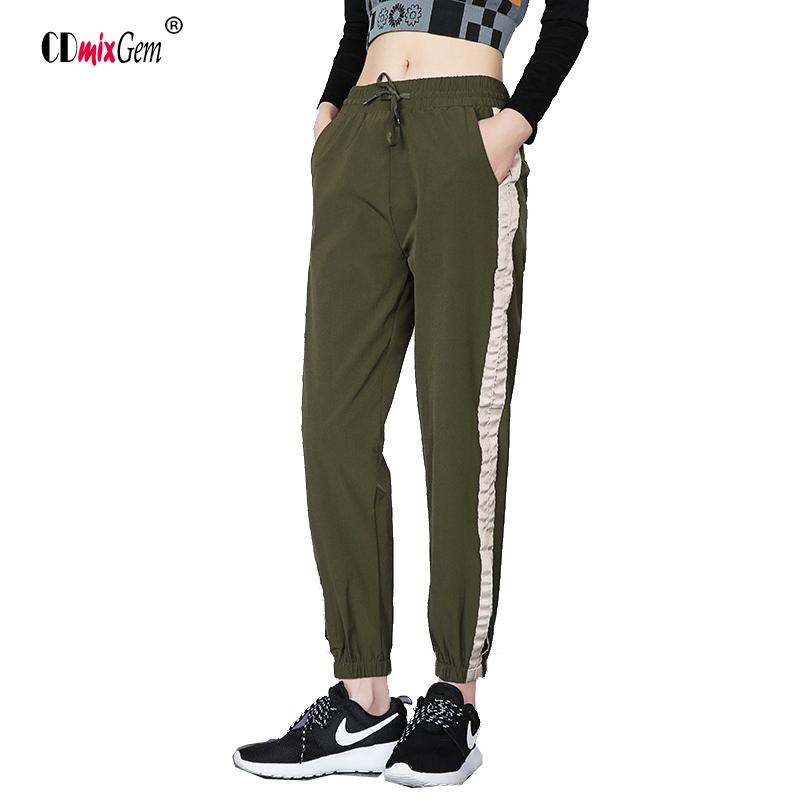 Femme Sports Chic Xl S Stripe G Élastique Pockets Pantalon Loose Army Automne Side Taille jqVLUzGSMp