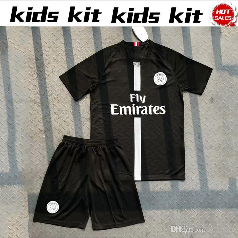 e9b8f91af19 2019 Kid Kits 2019 New Logo PSG Black Soccer Jerseys 18 19 Paris Saint  Germain Child Shirts  10 NEYMAR JR  7 MBAPPE Boy Black Football Jersey From  Xctc5320