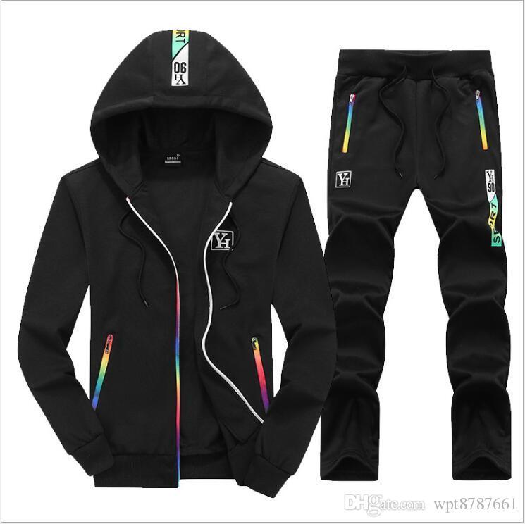 1e2e6399dc4 New Spring Autumn Winter Sporting Suit Men Set Baseball Jacket+Pant ...