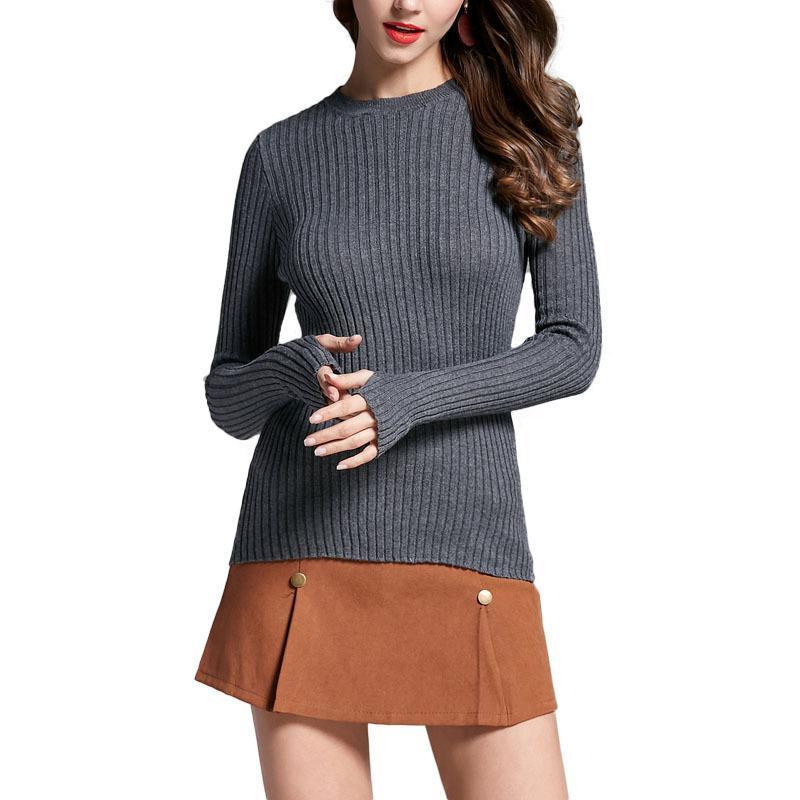 Compre Suéter De Las Mujeres Pullover Costilla Básica De Punto Tops De  Algodón Solid Crew Neck Jumper Suéter De Manga Larga Con Tops De Agujero  Pulgar ... 7400fc222064