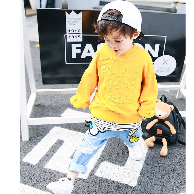 brand boys jeans for girls ripped holes patch cartoon jeans for kids spring autumn pants children casual trousers baby jeans