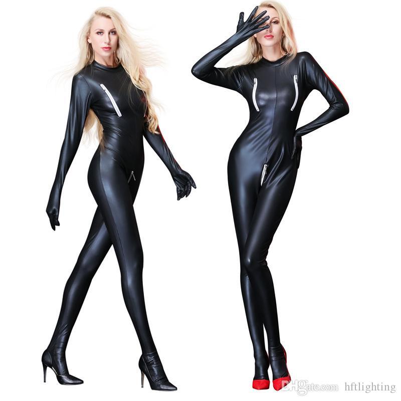 Compre Sexy Látex Todo El Cuerpo Apretado Traje De Charol Catsuit Disfraces  Cremallera Cruzada Entrepierna Para Mujer Bar Clubwear Stripper Party Fancy  A ... 6077168286ea