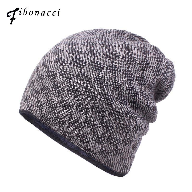 3d5dbd1adbe 2019 Feather 2018 New Men Plaid Knitted Hat Warm Plus Velvet Thick Men S  Skullies Hat Bonnet Autumn Winter Knit Beanies From Fwuyun