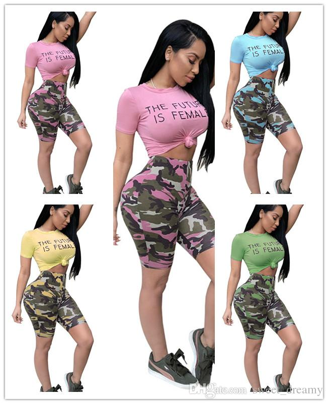 9d3356a0bbde 2019 Women Casual Fashion Plus Size Summer Short Sleeved Two Piece Jogger  Set Ladies Fall Tracksuit Sweat Suits Camouflage Shorts Sexy Low Waist From  ...