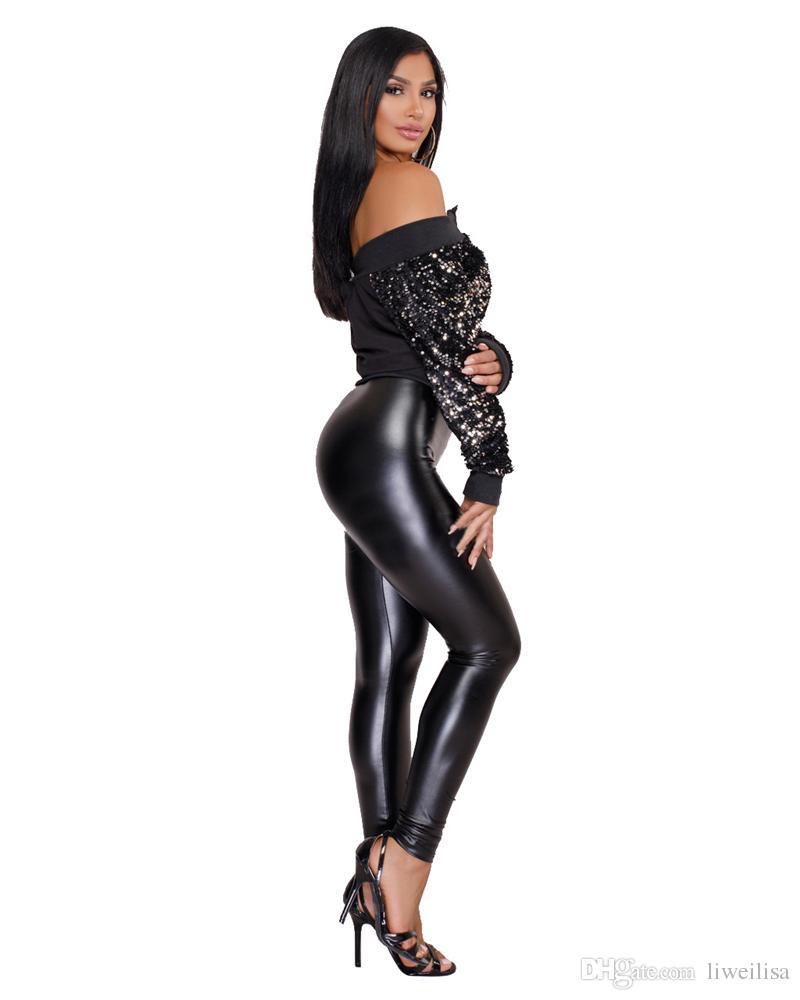 Adogirl 2018 Printemps Automne Encolure Paillettes Bomber Jacket Sexy Slash manches longues Zipper recadrée Manteaux Night Club Wear