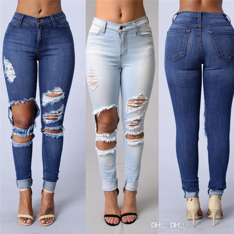 3370039f58d 2019 New Design Plus Size Fashion Trousers Womens Ladies Celeb Stretch  Ripped Skinny High Waist Denim Pants Jeans CL253 From Axkawas, $31.37    DHgate.Com