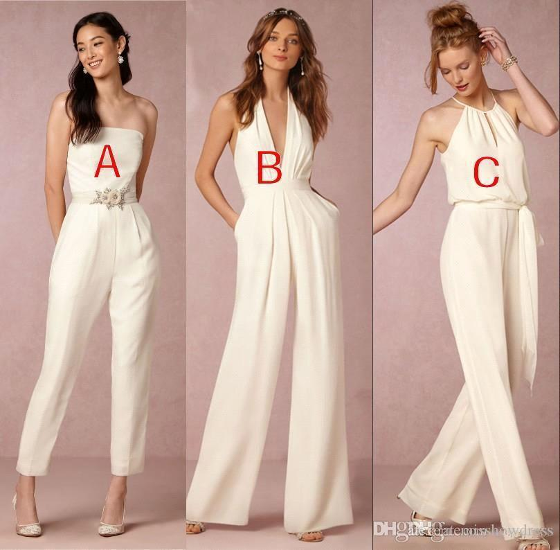 V Neck JumpSuit Long Bridesmaid Dresses 2018 Strapless Ruched Floor Length Long Maid of honor Wedding Guest Evening Gowns BA7444