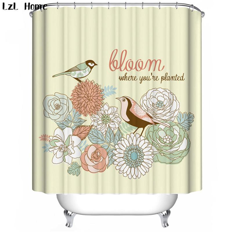 2019 LzL Home Birds Pattern Shower Curtains Magpie Lotus Bathroom Cheap High Quality Modern Fashion Style Bath Decoration From Williem