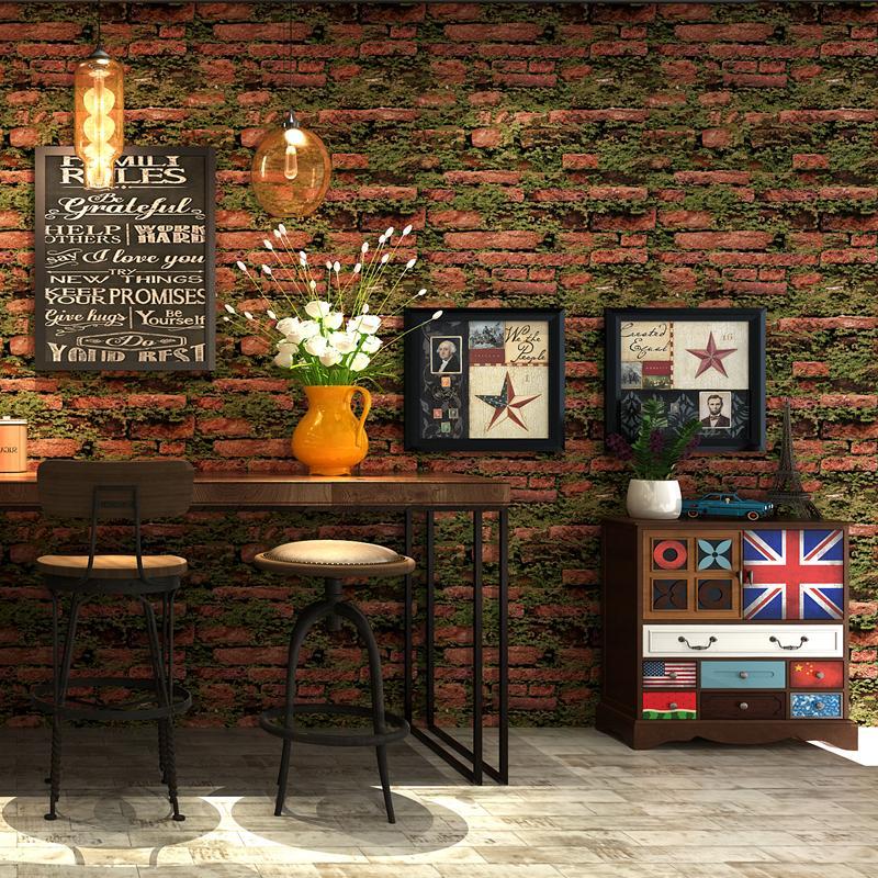 Personlichkeit Gras Ziegelstein Tapete 3d Vintage Stein Retro Wandpapier Barbershop Salon Bekleidungsgeschaft Hintergrund Papel De Parede