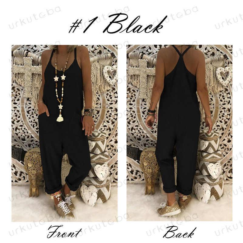 e1056e37af 2019 Fashion Women Casual Loose Solid Sleeveless Strap Loose Jumpsuit  Dungaree Ladies Cotton Linen Overall Trouser Pants Summer From Hongxigua