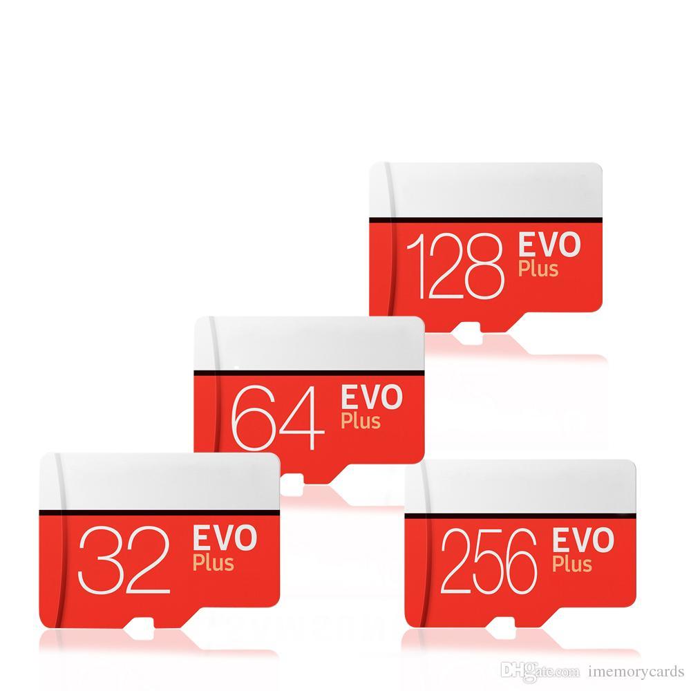 2018 Meilleure vente Noir EVO Plus 128 Go 80 Mo / S 90 Mo / S Carte mémoire flash Classe 10 Adaptateur SD gratuit Vente au détail Blister Paquet Epacket DHL Gratuit Shi