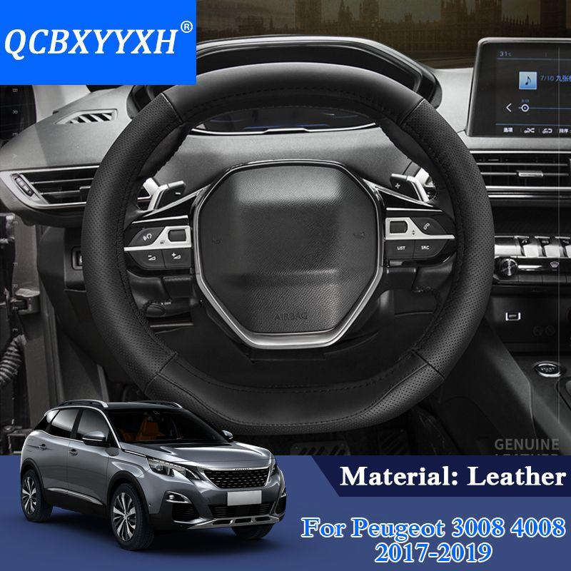 Peugeot 3008 Için QCBXYYXH Araba Styling 4008 5008 2017-2019 Direksiyon Deri direksiyon-Kapak Kapak İç aksesuar