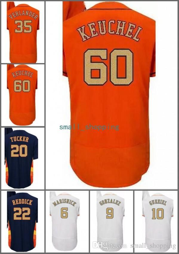 Custom Mlb Houston 10 Yuli Gurriel 15 Carlos Beltran 16 Brian Mccann 41 Brad Peacock 60 Keuchel Champions Gold 2017 Ws Patch Baseball Jersey