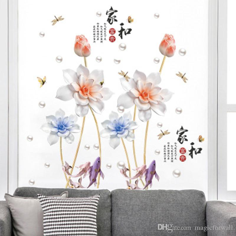 Chinese Style Lotus Golden Fish Dragonfly Wall Stickers Chinese Calligraphy Happy Family Wall Quote Art Mural Poster Home Decor Wall Decals
