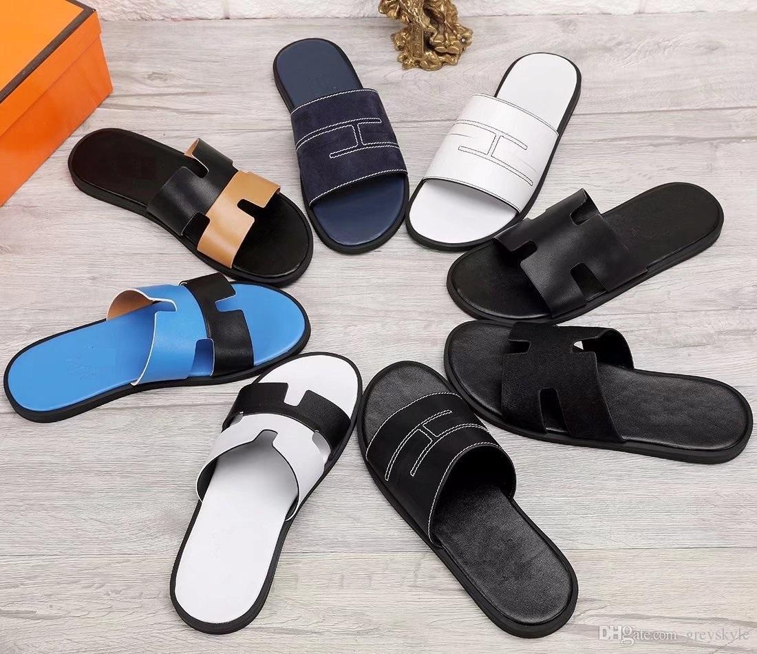 Brand Design men cow leather flat slippers Summer Outdoor Sports Beach sandals fashion leather Sole flipflops flip-flop Moccasins,38-45