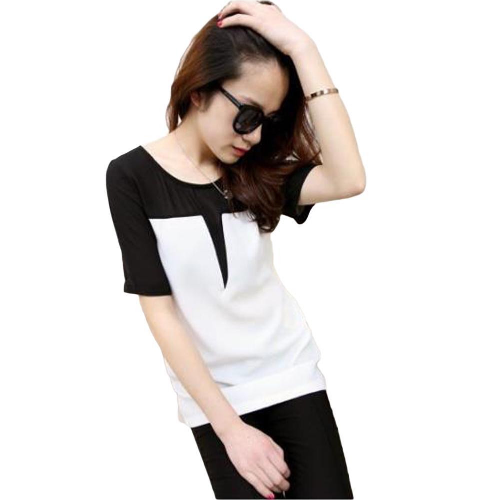 4e8ce5b649c Women Preppy Style T Shirt Dress O Neck Black White Patchwork Mini Summer  Dress Short Sleeve Casual Loose Pullover Tops Beige White Dresses For  Juniors ...
