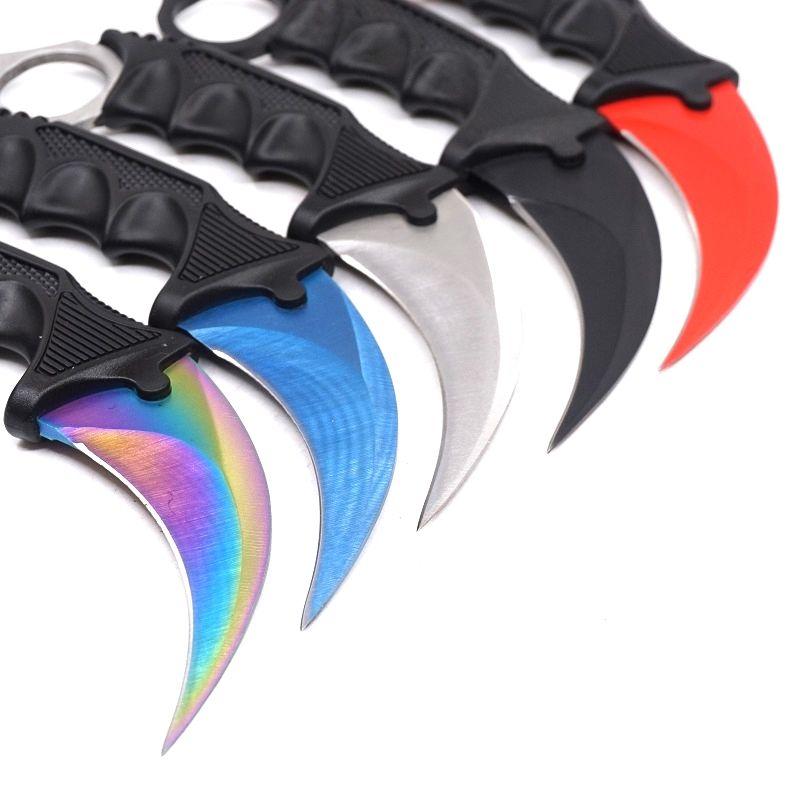 Garra de contraataque Cuchillo Karambit CS GO Cuchillo de bolsillo de supervivencia de acero inoxidable Herramientas de acampada Cuchillas de hoja fija
