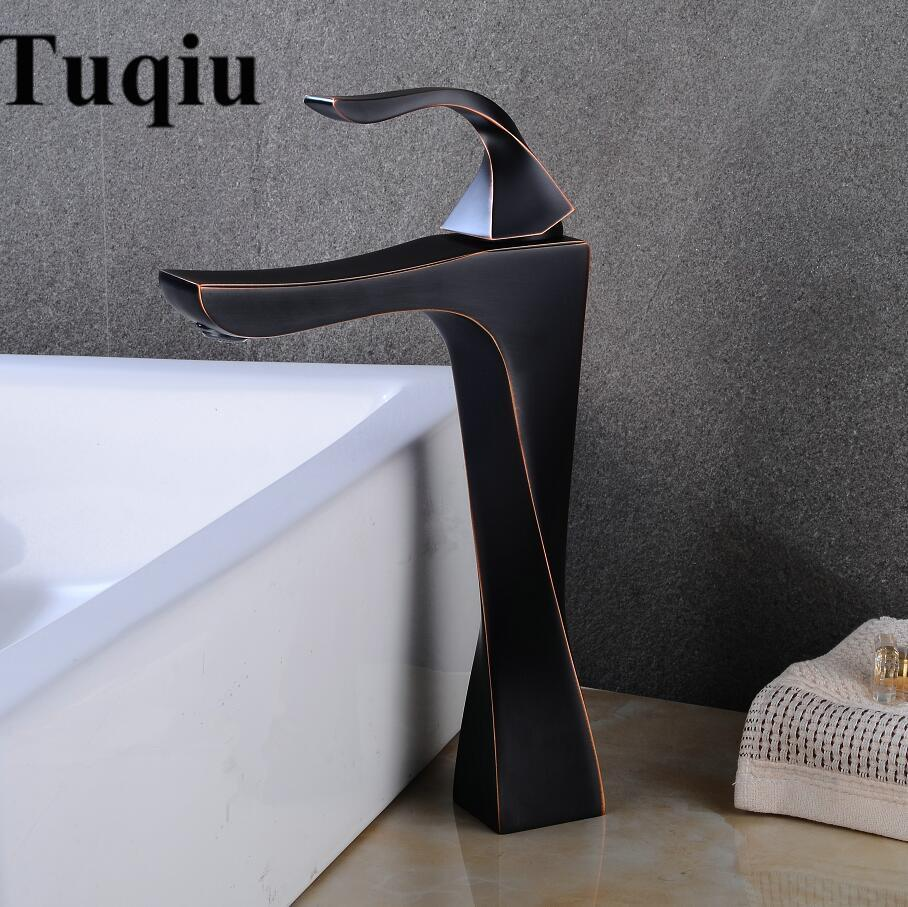 2018 Basin Faucet Black Oil Brushed Copper Bathroom Faucet Mixer ...