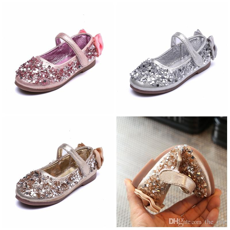 030d1d4bae9d6 Acheter Filles Enfants Chaussures Sequin Bow Party Danse Princesse Plat  Enfants Chaussures Pour Fille Pu Chaussures En Cuir De  10.28 Du The one