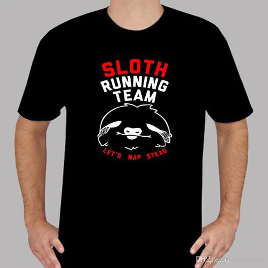 New Sloth Running Team Funny Costume Mens Black T Shirt Size S To
