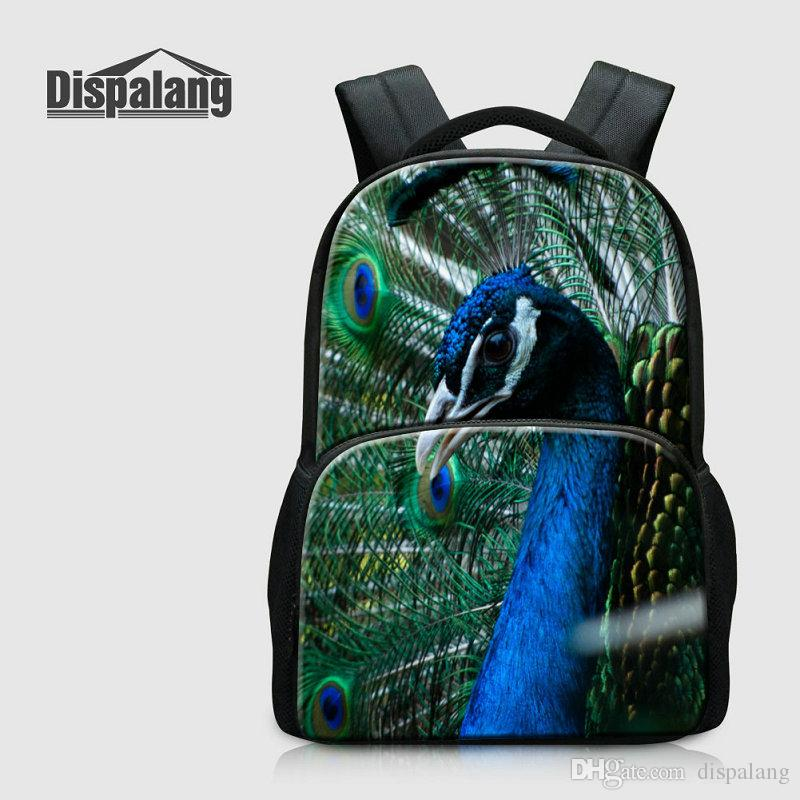 3D Printing Peacock Backpack For Laptop Animal Owl Schoolbags Bookbags For Middle School Students Children's Canvas Bagpack Mochila Escolar