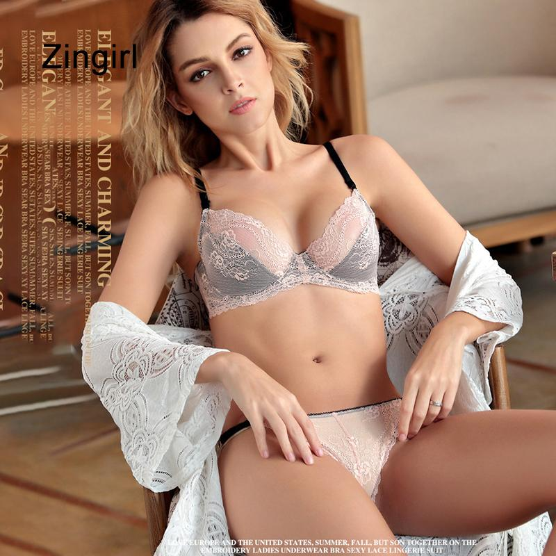 fba754216 2019 Zingirl Thin Elegant Lace Sexy Bra   Brief Sets Crochet Transparent  Underwear Women Intimates Underwire Adjustable Lingerie Sets From Paluo