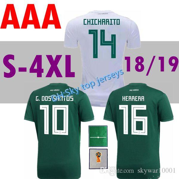 90c8b6a53 2019 LARGE SIZE Xxl 4xl Mexico Jersey 2018 World Cup Green  10 G.DOS SANTOS   7 M.LAYUN  14 CHICHARITO Football Shirts 17 18 Mexico Soccer Jerseys From  ...