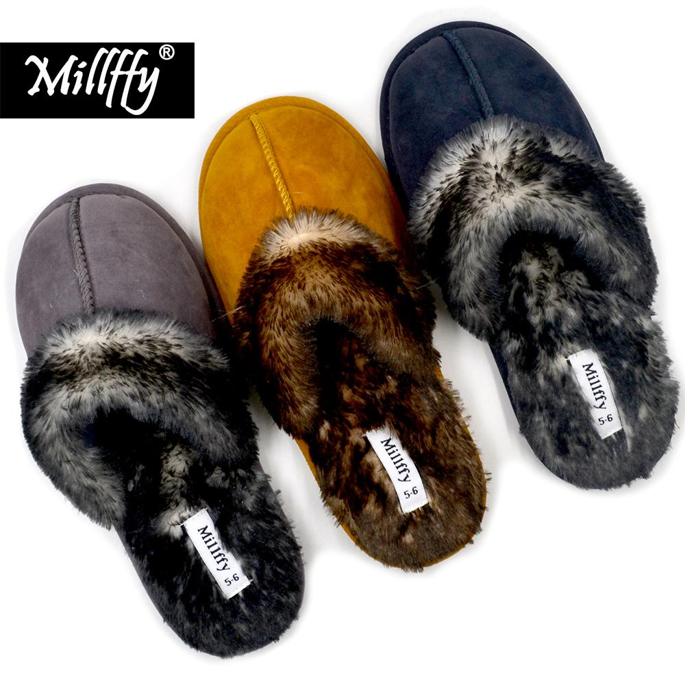 1488de251 Millffy Faux Fur Slip On Womens House Slipper with Memory Foam ...