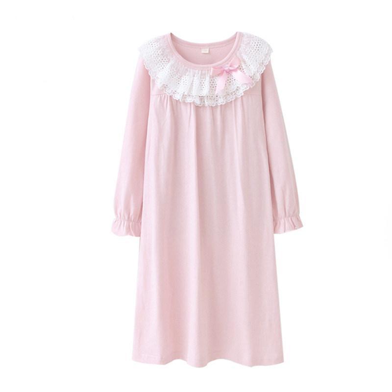 buy popular dcdfa 145da 3-15 Jahre alt Mädchen Nachthemd Kinder Schlaf Robe Prinzessin Nachtwäsche  Schöne Spitze Mädchen Nachthemden Baumwolle Little Girl Home Pyjamas