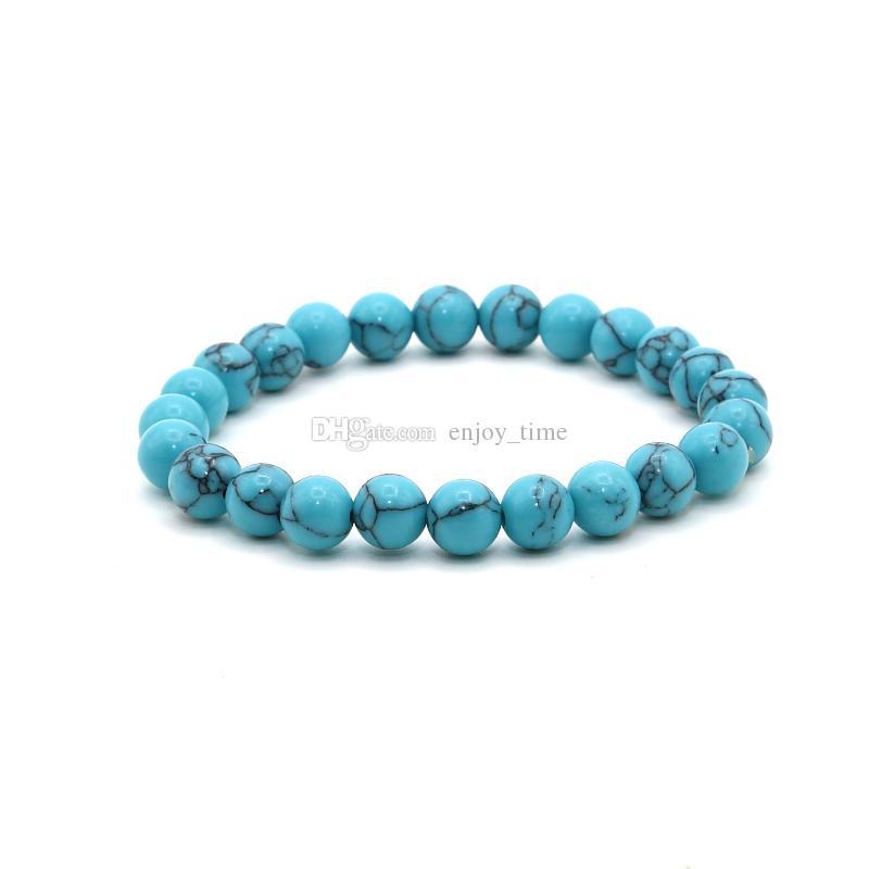 8mm Fashion white green Turquoise Lava stone Beads Bracelet for Men Women Handmade Charm Bracelets yoga Jewelry