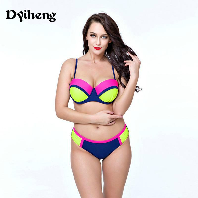 3a8e95e32b 2019 Dyiheng Large Size Big Top Bottom Push Up Tankini Set New Sexy Ball  Color Swimsuit Plus Size Bikini Women Swimming Suit Female Padded From  Dyiheng