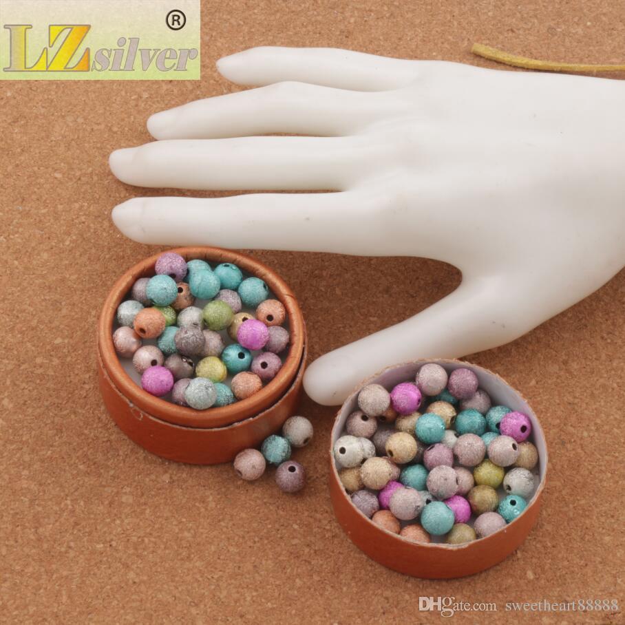 lot Mixte Coloré Stardust Perles Rondes 8mm Vente chaude Acrylique EN STOCK Acrylique, Plastique, Lucite Lâche Perles L3042