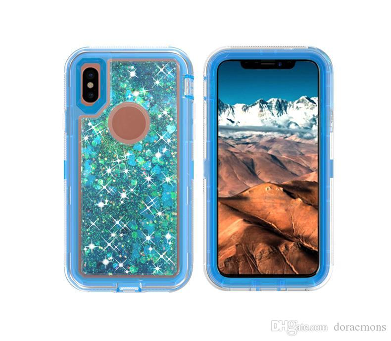 Hybrid 3 in 1 defender Transparent Clear quicksand Robot boxes CASES Liquid Glitter Running Cover For iphone x 8 6 6s 7 plus SAMSUNG S8For i