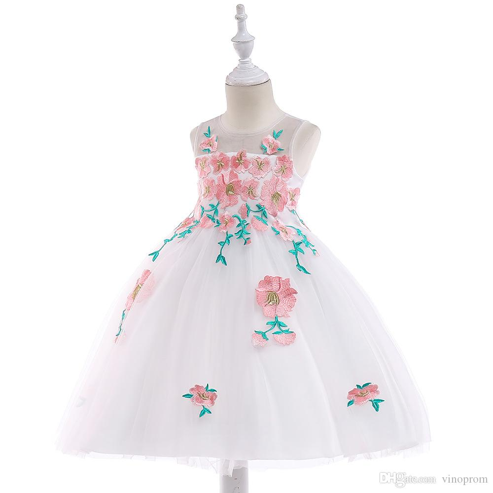 2019 Cute Flower Girl Dresses Princess Ivory White Light Pink Puffy