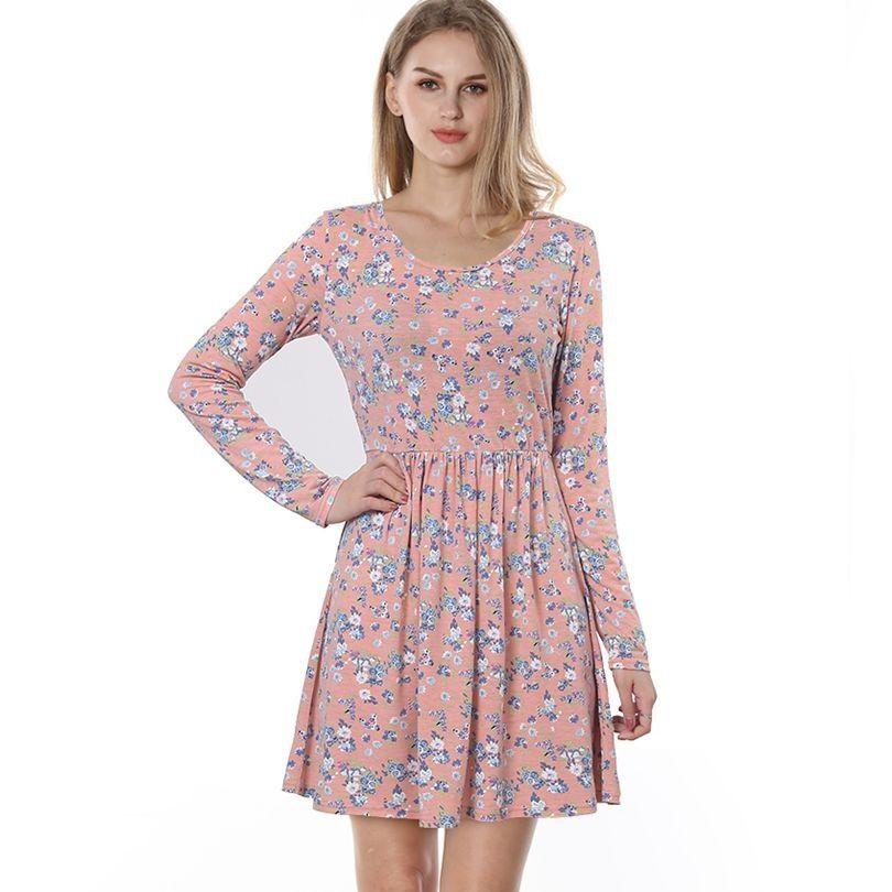 48973a0059b Women Autumn Spring Vintage Dress Long Sleeved Print Floral Dress Women  Retro Vintage Elegant Tunic Vestidos Knit Dresses Casual Dress Dress For A  Party ...