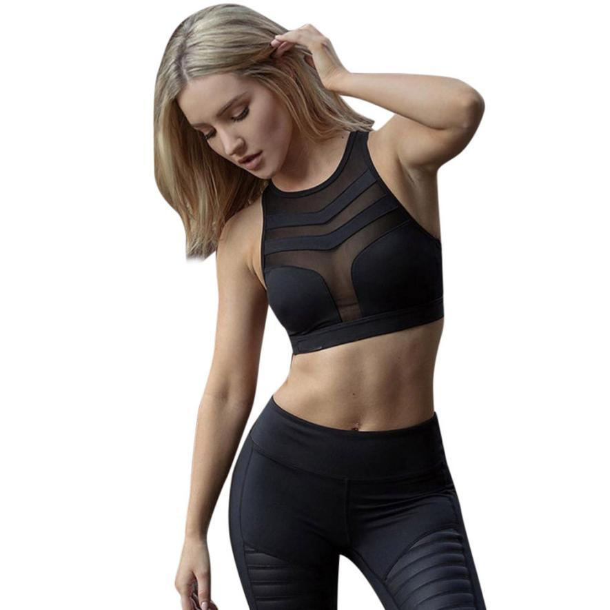 98b85c3c47a93 2019 Women Sports Mesh Perspective Stitching Top Yoga Bra Workout Tank Tops  Stretch Seamless Racerback Padded Fitness Running Vest From Kuyee