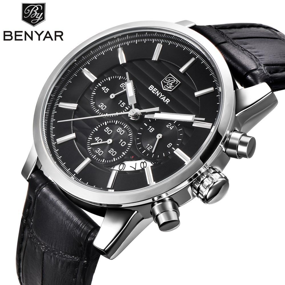 28a5dd225898 Compre BENYAR Hombres Relojes De Primeras Marcas De Lujo De Negocios  Impermeable Deporte Cronógrafo Cuarzo Hombre Reloj De Pulsera Reloj  Masculino Relogio ...