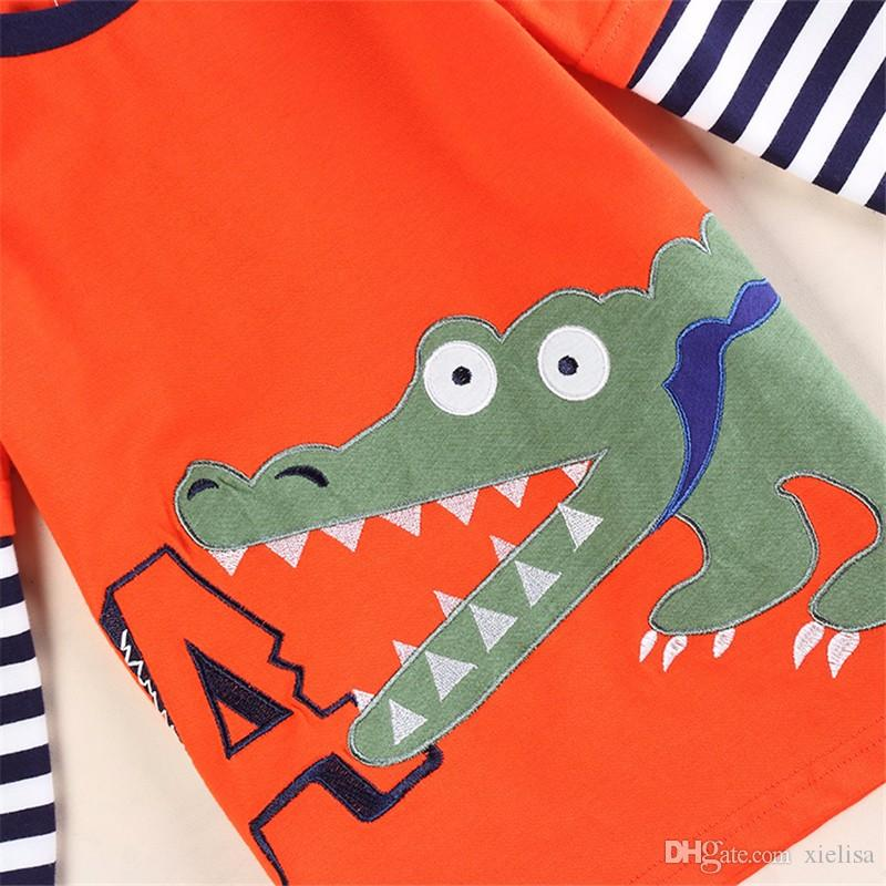 Orange 2018 retail kids baby boys clothes long sleeve t-shirt spring autumn cool desgn in high quality t-shirt for boys