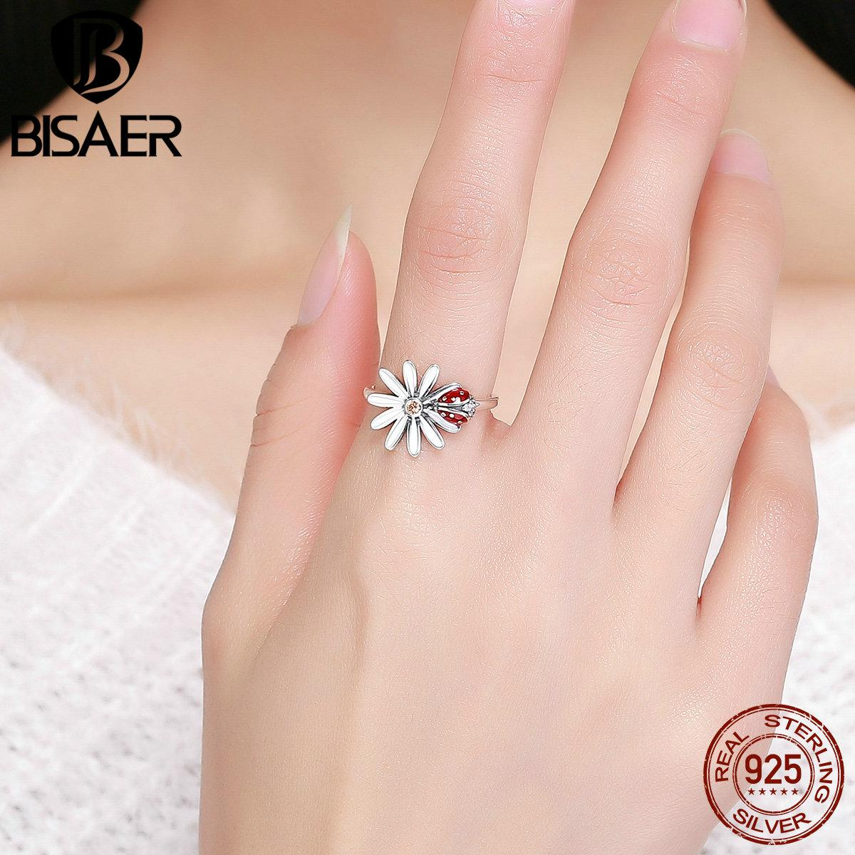 Authentic 100% 925 Sterling Silver Red Wonderland Rings Big Flower ...