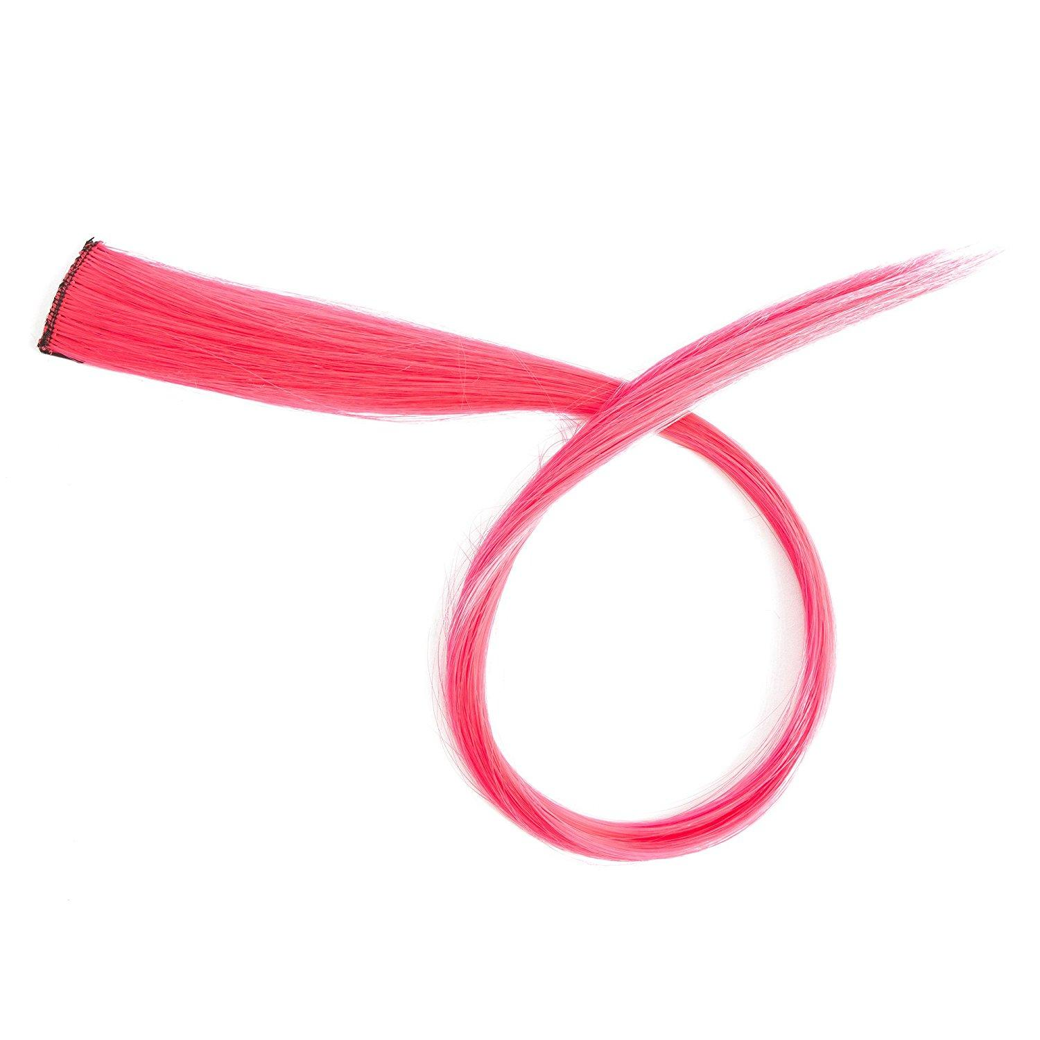 Colored Clip In Straight Synthetic Hair Extensions A Set 20 Hot Pink