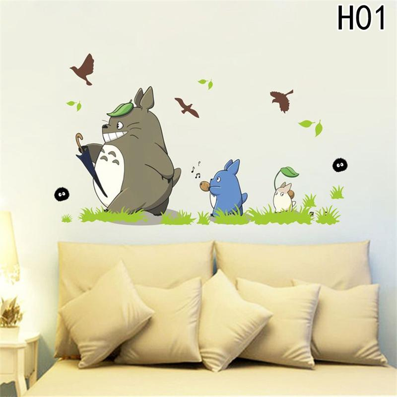 new cartoon animation vinyl totoro wall stickers for kids room cafe