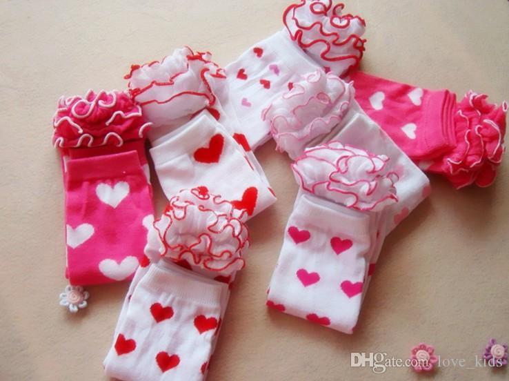 Fashion Baby Infant volant Gambali calze cuore caldo Calze al ginocchio Calze a maglia bambini Calze di alta qualità