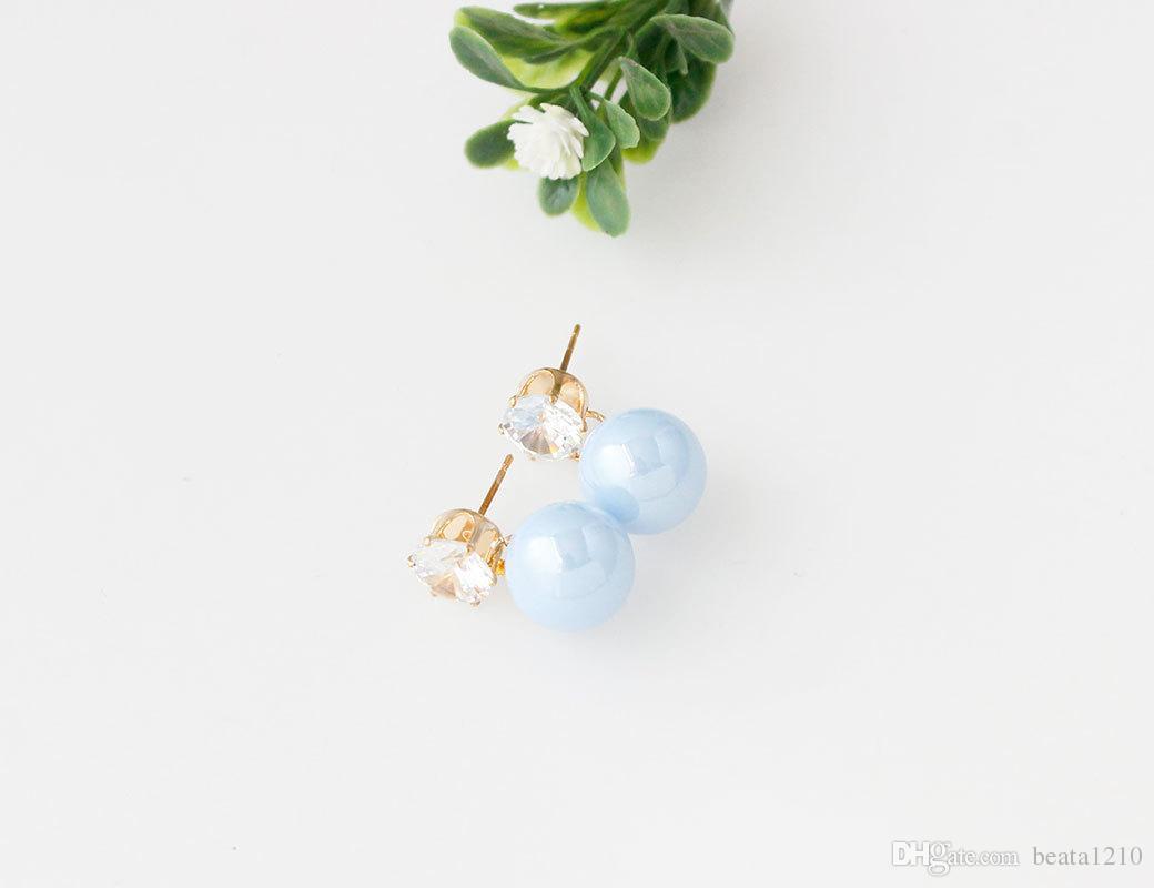 Orecchini con pietre 2018 coreano moda orecchino costume negozi di gioielli orecchini di perle le ragazze all'ingrosso mix di colori idee regalo