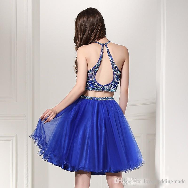 Bleu Royal Court Luxe Perles de Cristal Robes de bal 2018 Halter manches Deux Pièces Keyhole Retour Filles Party Prom robe