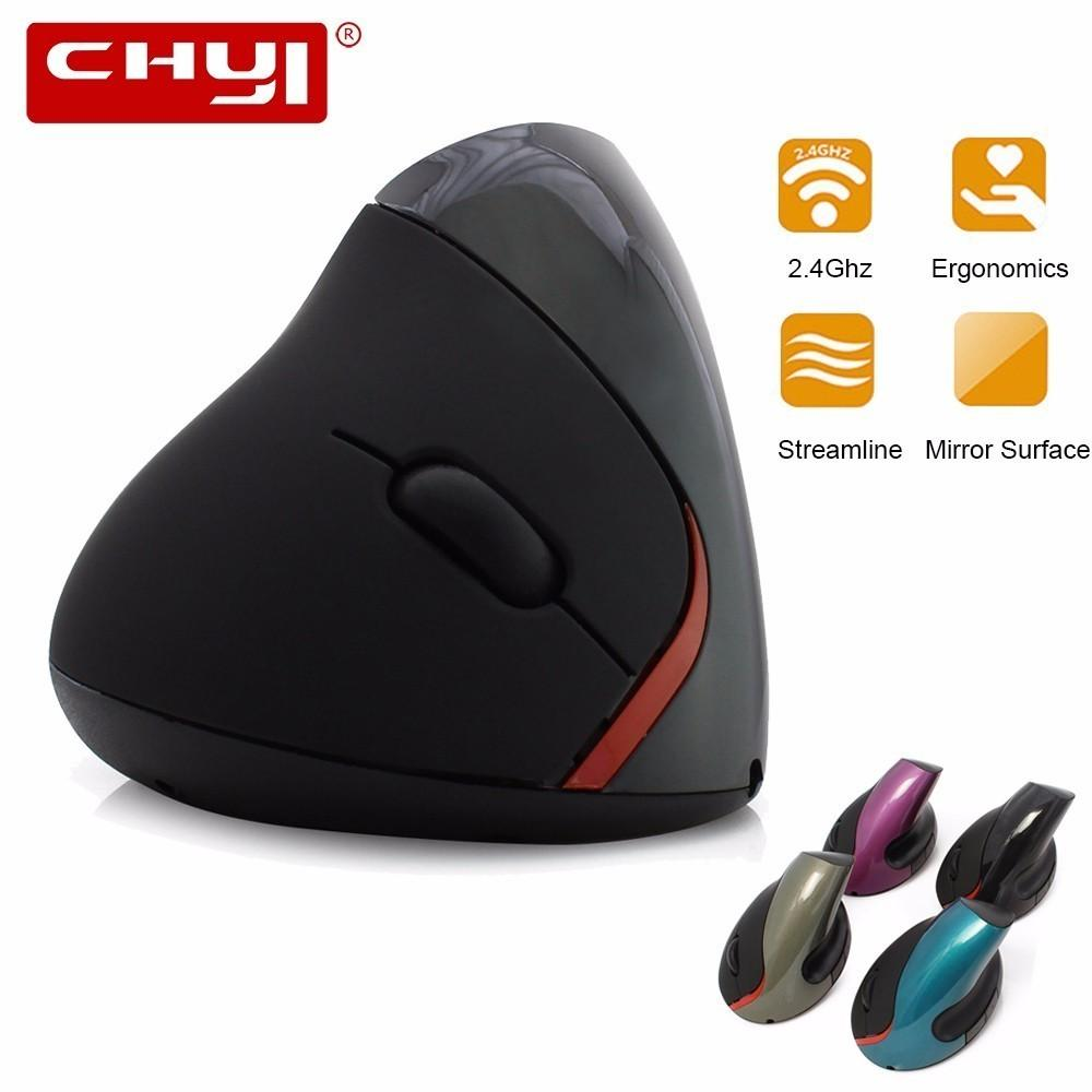 CHYI Ergonomic Vertical Mouse 2.4G Wireless Mause 1200DPI USB Optical Gaming Mice for Computer Rechargeable Battery + Mouse Pad