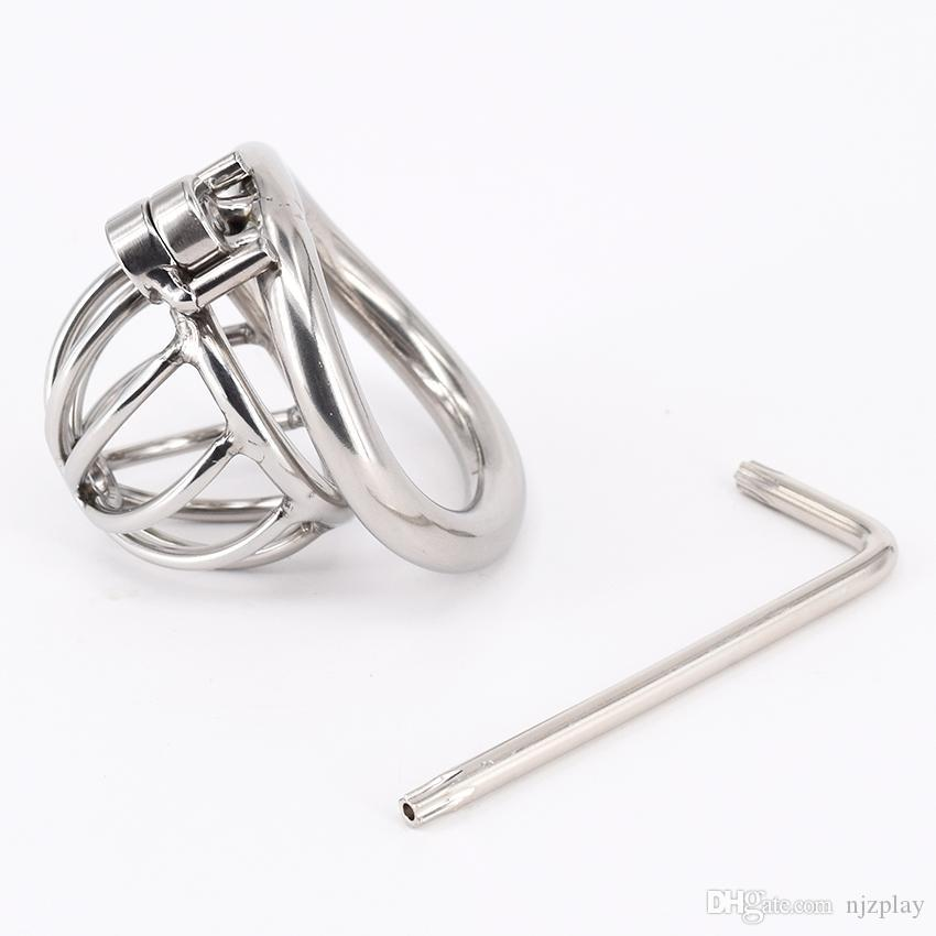 Chastity Devices Male Small Penis Lock Stainless Steel Chastity Belt Metal Cock Cage For Men With Curved Penis Rings