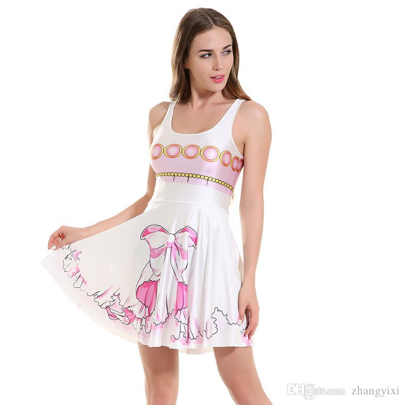 Wholesale girl fashion 3d transfer print sleeveless galaxy flower bow sweat candy casual sexy mini dress summer clothes