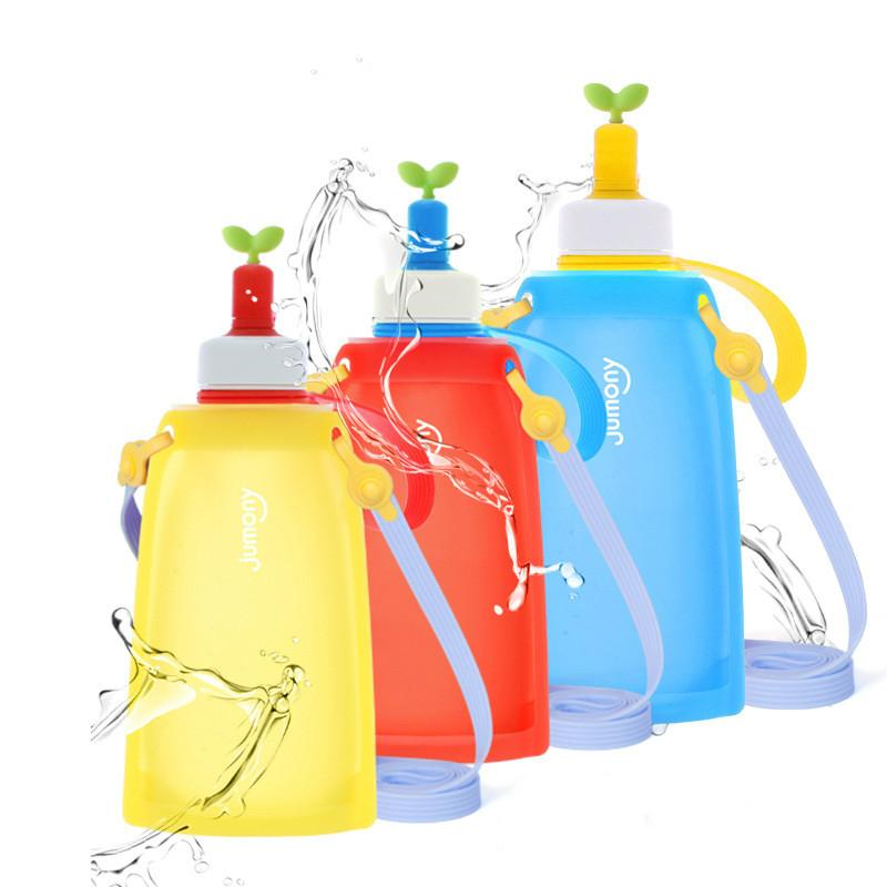 300ml Silicone Folding Water Bottle Outdoor Children Tourism Hiking  Drinking Water Kettle Reusable Squeeze Pouch Squeeze Bags